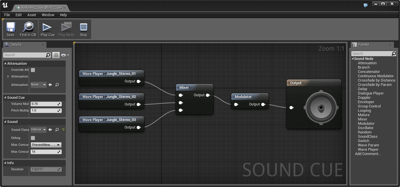 Редактор звуков в Unreal engine 4