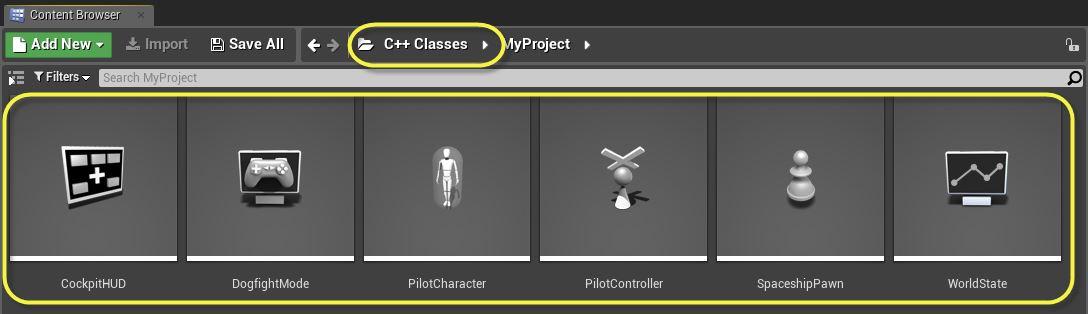C++ классы в Content Browser